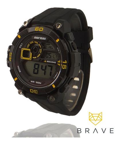 relógio masculino preto mormaii digital prova dágua original