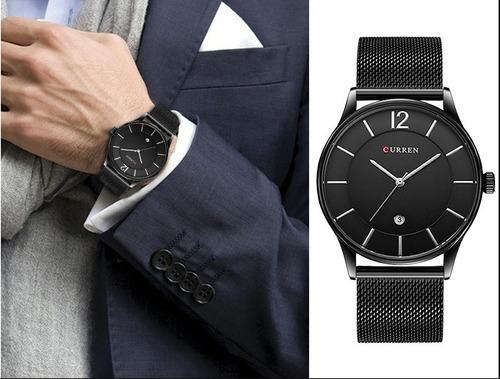 relógio masculino preto original importado analógico curren