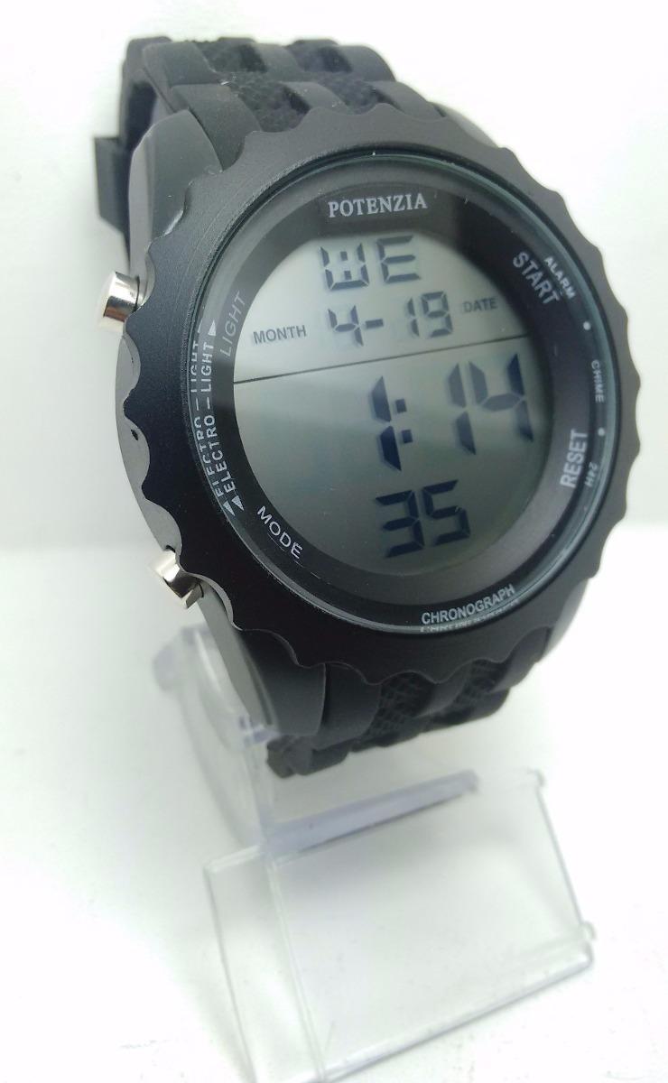 f2f3eab3167 relógio masculino preto potenzia cronômetro emborrachado luz. Carregando  zoom.
