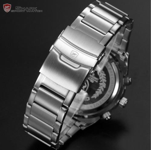 relógio masculino à prova d' água shark race digital/analógico, cronômetro, alarme, black light (original)