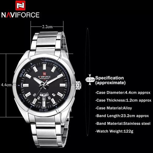 relógio masculino à prova d'água naviforce original aço