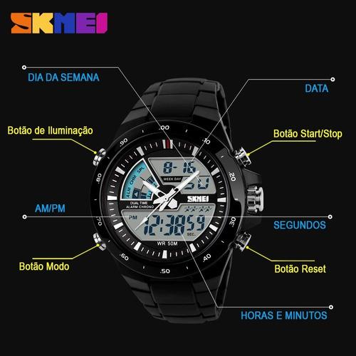 relógio masculino prova d'agua skmei 1016 original c/ caixa