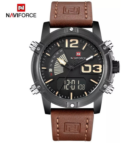 relógio masculino prova de água pulseira couro modelo 9095