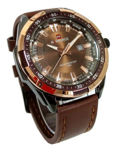relógio masculino pulseira couro calendário aço inox