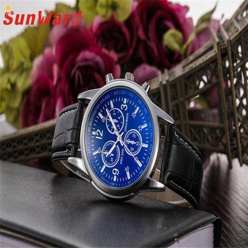 relógio masculino pulseira couro geneva luxo