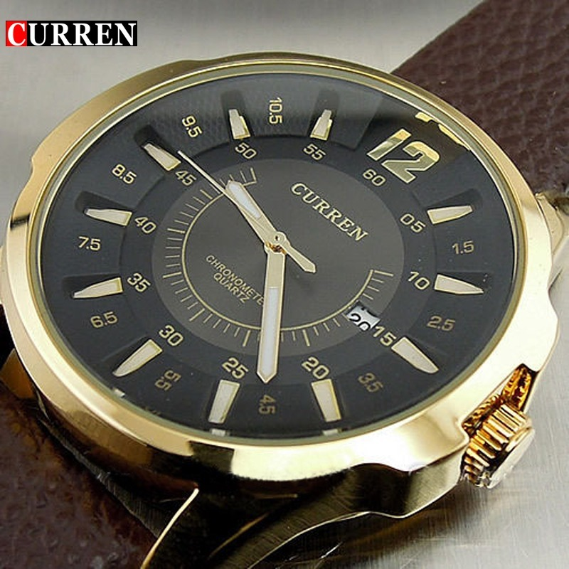 295d9280fdb relógio masculino pulseira couro marrom dourado esporte fino. Carregando  zoom.