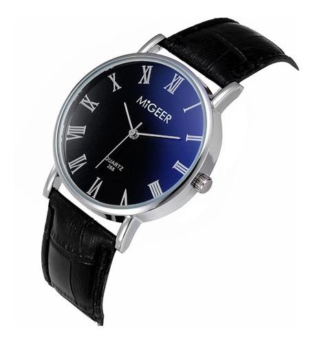 relógio masculino pulseira  couro preto
