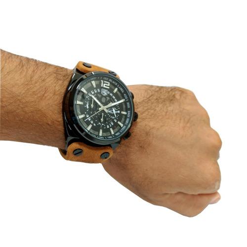 relógio masculino pulseira couro preto aço inox calendário