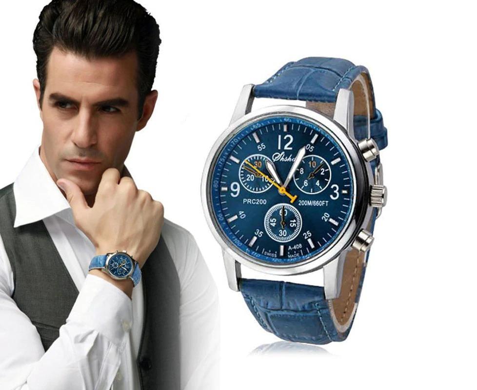 a18420a80 relógio masculino pulseira couro super barato! Carregando zoom.