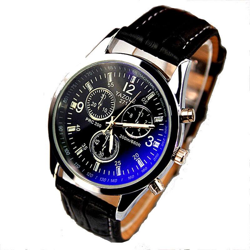 e415cba09e8 relógio masculino pulseira couro yazole 271 preto barato. Carregando zoom.