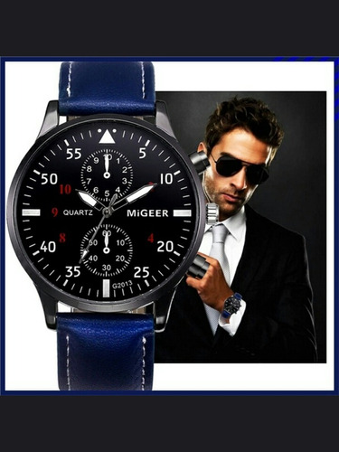 relógio masculino pulseira de couro azul