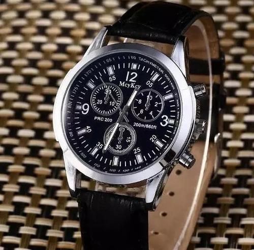 relógio masculino pulseira de couro casual