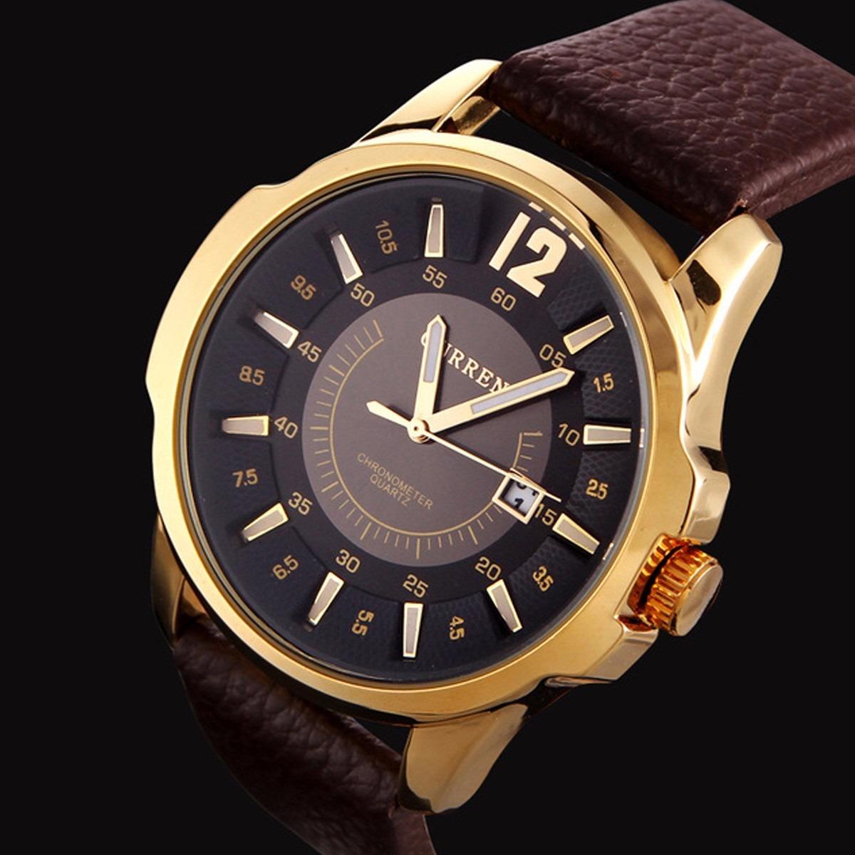 991e4a4c2f3 relógio masculino pulseira de couro curren social barato. Carregando zoom.