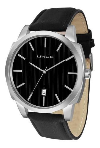 relógio masculino pulseira de couro lince com calendario mrc4461s