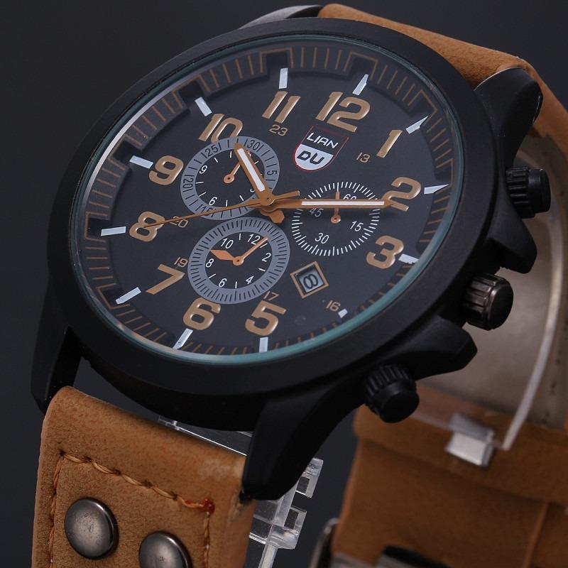 4242c218ffc relógio masculino pulseira de couro militar soki ou feminino. Carregando  zoom.