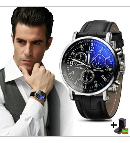 relógio masculino pulseira de couro social analógico quartz