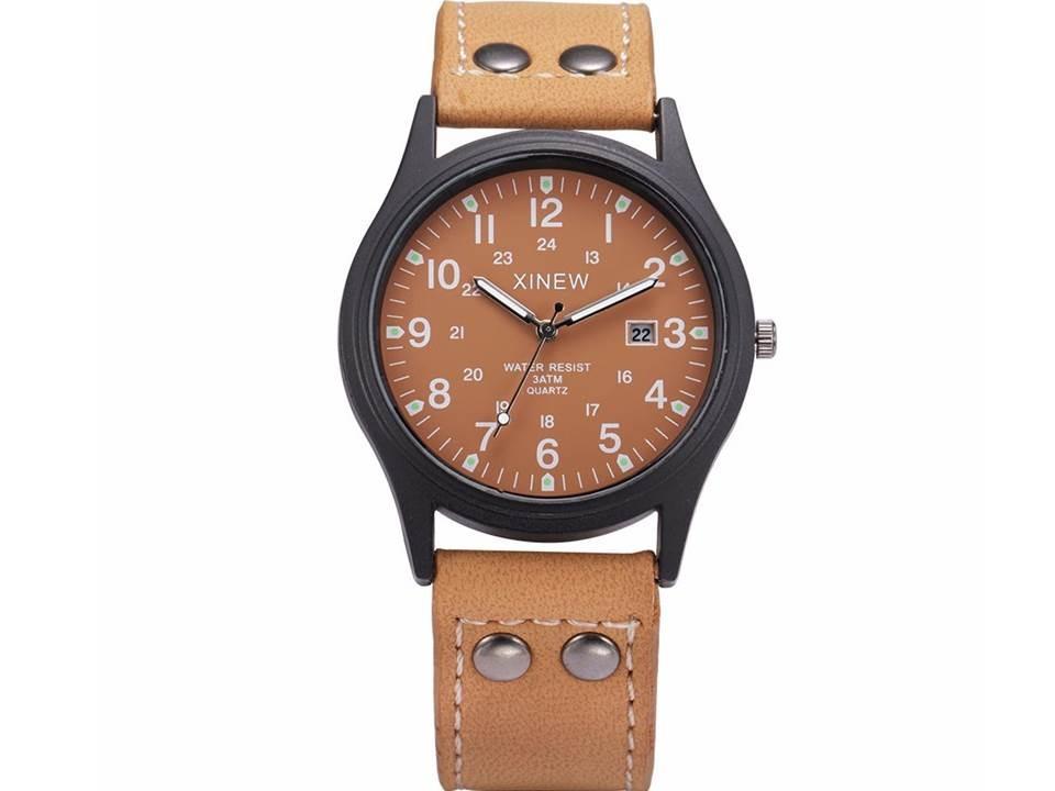 9854a4a705d relógio masculino pulseira de couro xinew marrom barato. Carregando zoom.
