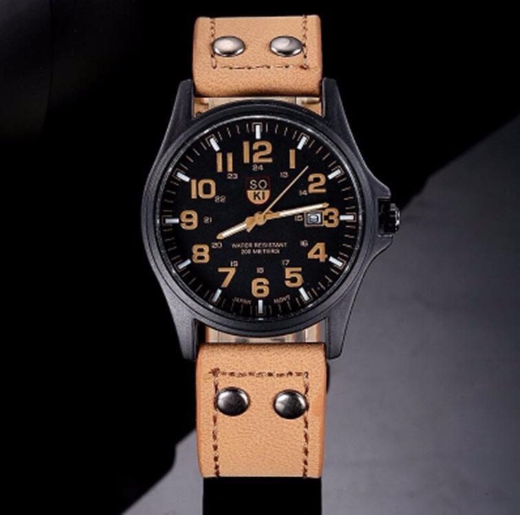 d40bdce9cf8 Relógio Masculino De Pulso Com Pulseira De Couro Marrom Soki - R  87 ...