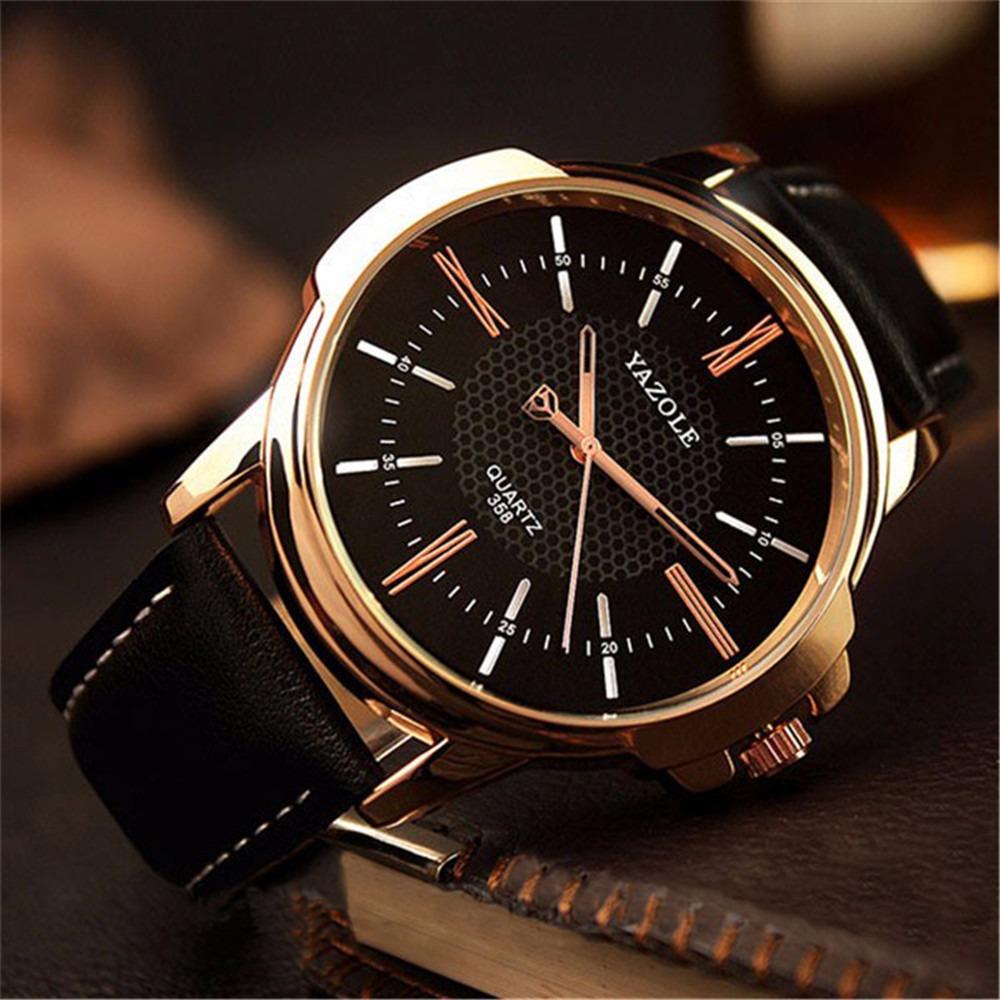 ecf848e59ed relógio masculino pulso couro preto social original barato. Carregando zoom.