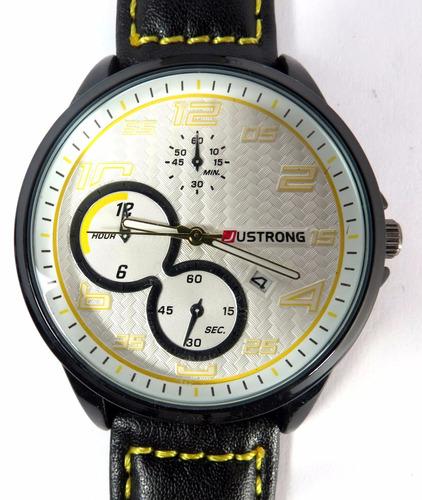 relógio masculino pulso justrong preto e amarelo no:168003