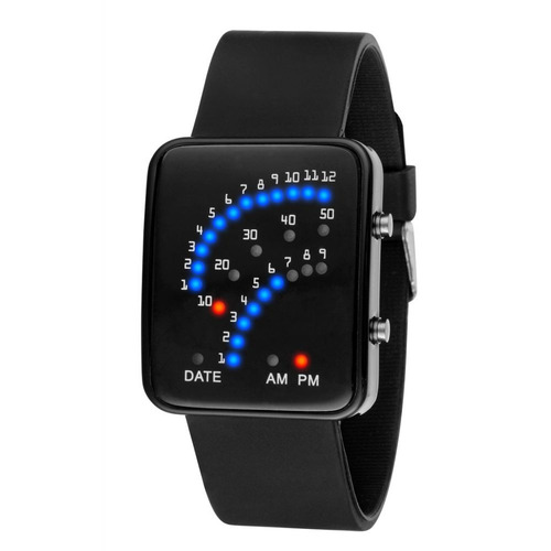 relógio masculino pulso led digital 29 led pulseira silicone