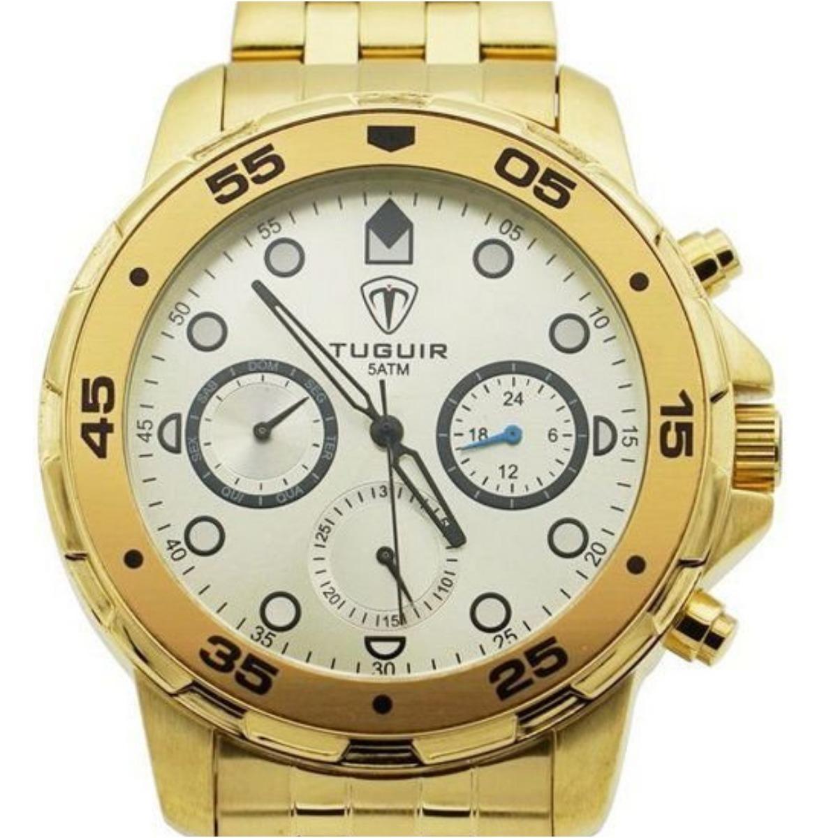 d96b076a349 relógio masculino pulso original luxo dourado social top. Carregando zoom.