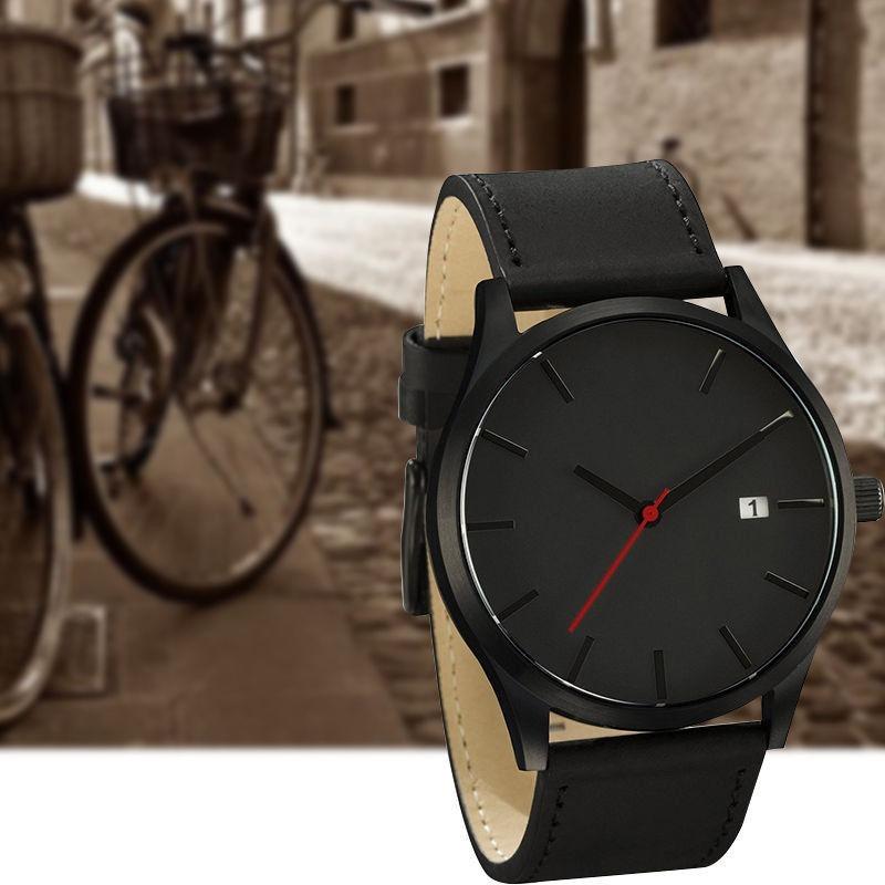 5772fab12bc relógio masculino pulso quartzo esportivo couro preto. Carregando zoom.