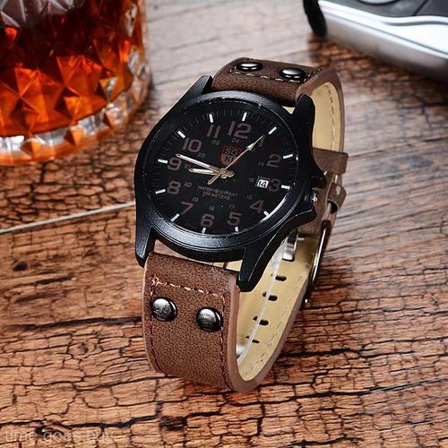 relógio masculino pulso soki leisure series analógico-marrom