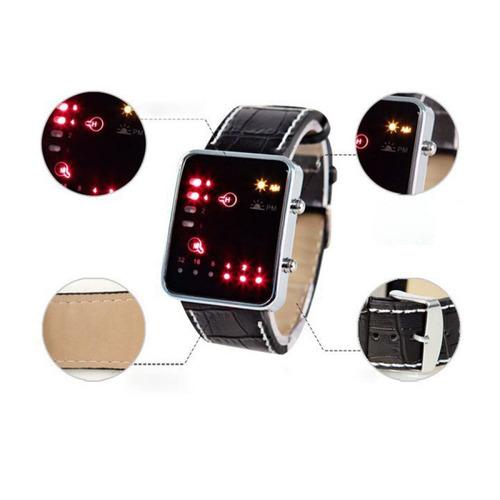 relógio masculino pulso sport led digital sistema binário