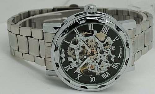 3d2f7301992 Relógio Masculino Pulso Winner Esq Mov Mecânico Pulseira Aço - R ...