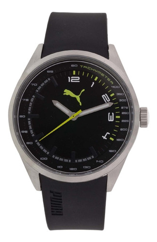 relógio masculino puma prata preto tachymeter 96214g0pmnu2