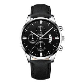 Relógio Masculino Quartz Preto Prata Couro Cuena Promoção