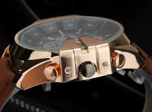 relógio masculino quartz super speed v6 pulseira de couro