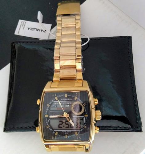 relógio masculino quartzo cronometro dourado+carteira brinde