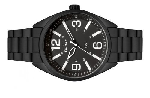 relógio masculino redondo preto fosco a prova d'água condor