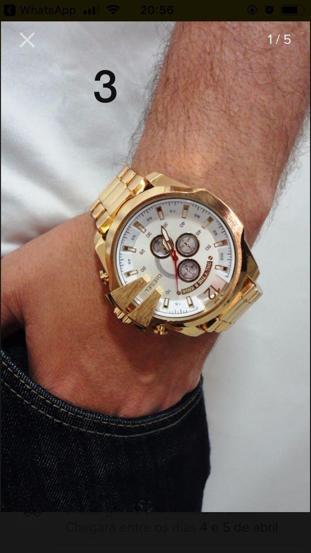 a1e2870a3c2 Relógio Masculino Prata Dourado Branco Relogio Top Importado - R  35 ...