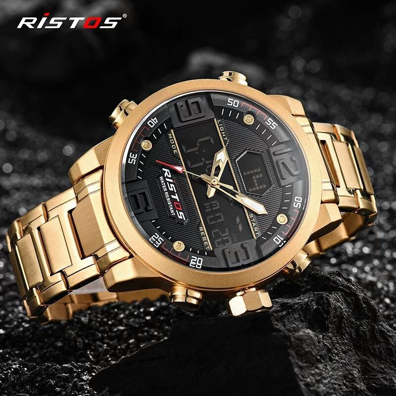 cfdcc3cd863 relógio masculino ristos dourado promoção oferta imperdível. Carregando  zoom.