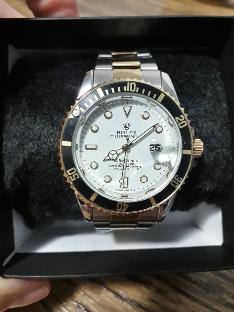 5aae8342bb1 relógio masculino rolex subimariner luxo prata e dourado. Carregando zoom.