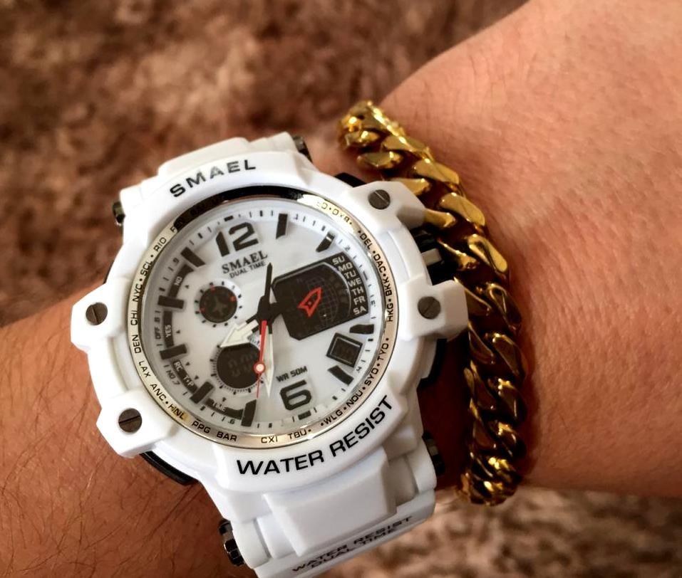 3b83b9a2130 relógio masculino s-shock branco digital prova d água smael. Carregando zoom .