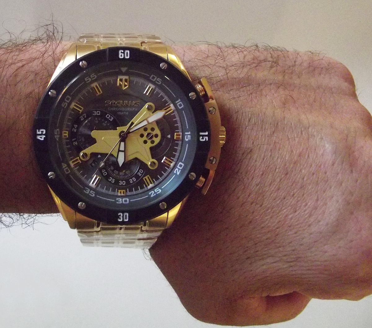 7e917d0aab8 Relogio Masculino Seculus Dourado Lançamento Caixa Grande - R  450 ...