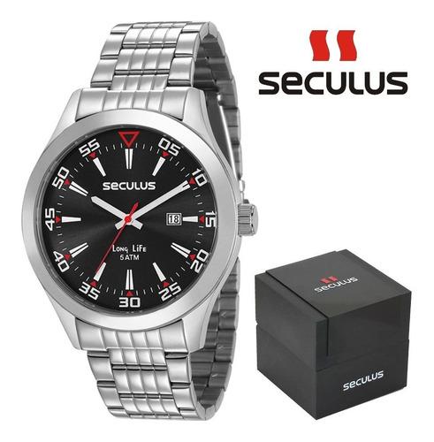 relógio masculino seculus calendário visor preto 23646g0svna