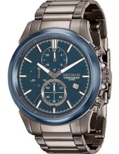 relógio masculino seculus cinza cronógrafo13023gpsvqa2