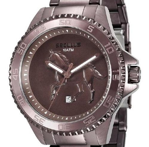 relógio masculino seculus country 20441gpsvma1 aço marrom