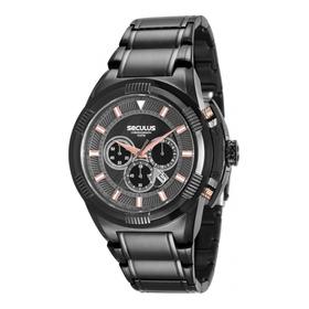 Relogio Masculino Seculus Cronograph Ip Black