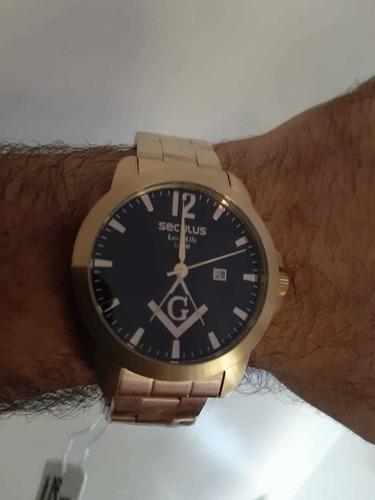 relógio masculino seculus dourado 28973gpskda1 kit maçonaria