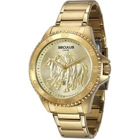 Relógio Masculino Seculus Dourado Country 20182gpsvda2 C/ Nf