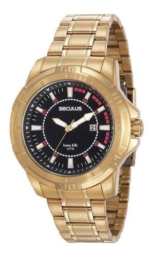 relógio masculino seculus modelo 20620gpsvda2 dourado preto