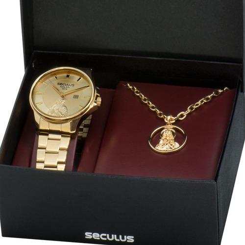 relógio masculino seculus sagrado coração 28919gpskda1k1 dou