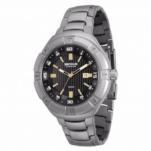 relógio masculino seculus titanium antialérgico 20402g0svnt1