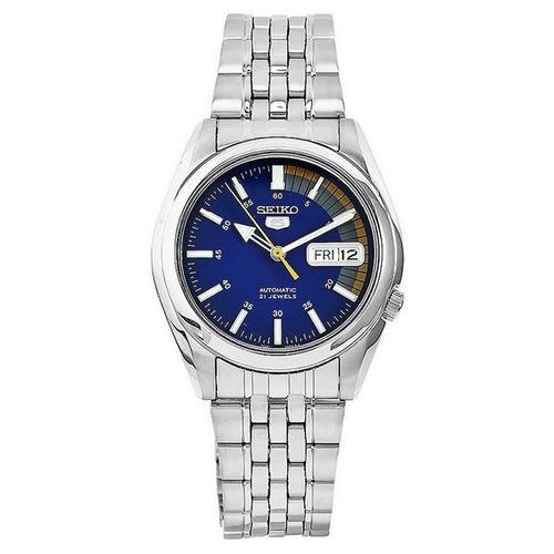 relógio masculino seiko automatico snk371k1 aço fundo azul